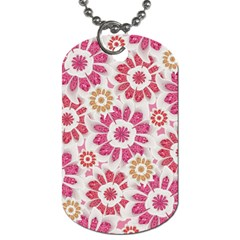 Feminine Flowers Pattern Dog Tag (two Sided)  by dflcprints