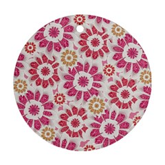 Feminine Flowers Pattern Round Ornament (two Sides) by dflcprints