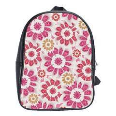 Feminine Flowers Pattern School Bag (Large) by dflcprints