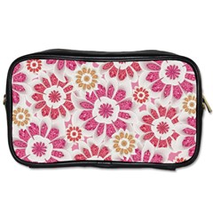 Feminine Flowers Pattern Travel Toiletry Bag (two Sides) by dflcprints