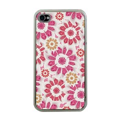 Feminine Flowers Pattern Apple Iphone 4 Case (clear) by dflcprints