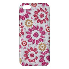 Feminine Flowers Pattern Apple Iphone 5 Premium Hardshell Case by dflcprints