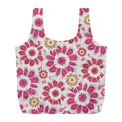Feminine Flowers Pattern Reusable Bag (l)
