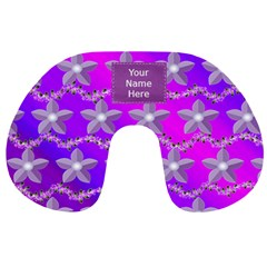 Purple Flowered Travel Neck Pillow By Kim Blair   Travel Neck Pillow   8qbcc1ygljdp   Www Artscow Com Front