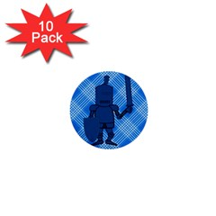 Blue Knight On Plaid 1  Mini Button (10 Pack) by StuffOrSomething