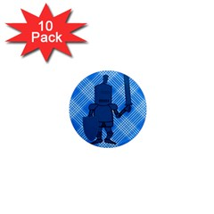 Blue Knight On Plaid 1  Mini Button Magnet (10 Pack) by StuffOrSomething
