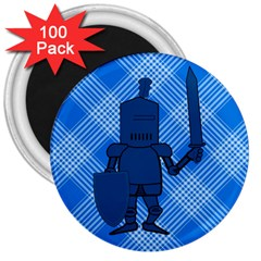 Blue Knight On Plaid 3  Button Magnet (100 Pack) by StuffOrSomething