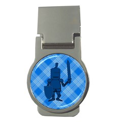 Blue Knight On Plaid Money Clip (round) by StuffOrSomething