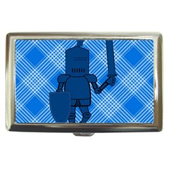 Blue Knight On Plaid Cigarette Money Case by StuffOrSomething