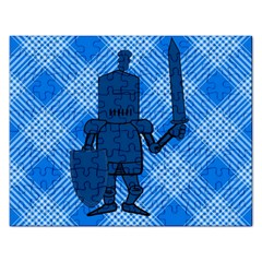 Blue Knight On Plaid Jigsaw Puzzle (rectangle) by StuffOrSomething