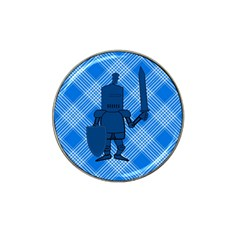 Blue Knight On Plaid Golf Ball Marker 4 Pack (for Hat Clip) by StuffOrSomething