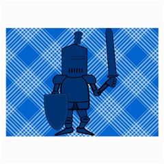 Blue Knight On Plaid Glasses Cloth (large, Two Sided) by StuffOrSomething