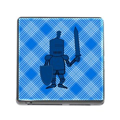 Blue Knight On Plaid Memory Card Reader With Storage (square) by StuffOrSomething