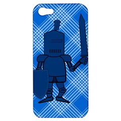 Blue Knight On Plaid Apple Iphone 5 Hardshell Case by StuffOrSomething
