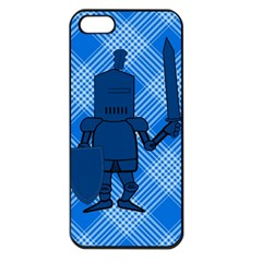 Blue Knight On Plaid Apple Iphone 5 Seamless Case (black) by StuffOrSomething