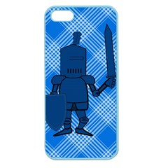 Blue Knight On Plaid Apple Seamless Iphone 5 Case (color) by StuffOrSomething