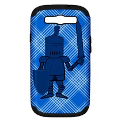 Blue Knight On Plaid Samsung Galaxy S Iii Hardshell Case (pc+silicone) by StuffOrSomething