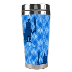 Blue Knight On Plaid Stainless Steel Travel Tumbler by StuffOrSomething