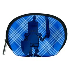 Blue Knight On Plaid Accessory Pouch (medium)