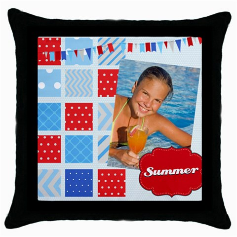 Summer By Summer Time    Throw Pillow Case (black)   Sm0pybw0jgm1   Www Artscow Com Front