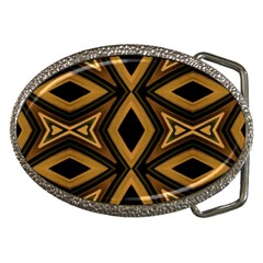 Tribal Diamonds Pattern Brown Colors Abstract Design Belt Buckle (oval) by dflcprints