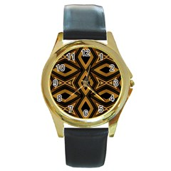 Tribal Diamonds Pattern Brown Colors Abstract Design Round Leather Watch (gold Rim)  by dflcprints