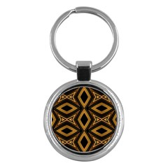 Tribal Diamonds Pattern Brown Colors Abstract Design Key Chain (round) by dflcprints