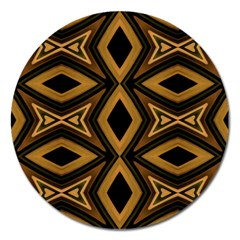 Tribal Diamonds Pattern Brown Colors Abstract Design Magnet 5  (round) by dflcprints