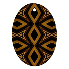 Tribal Diamonds Pattern Brown Colors Abstract Design Oval Ornament (two Sides) by dflcprints