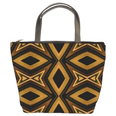 Tribal Diamonds Pattern Brown Colors Abstract Design Bucket Handbag by dflcprints