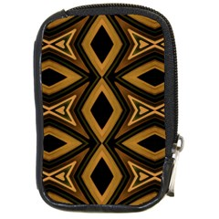 Tribal Diamonds Pattern Brown Colors Abstract Design Compact Camera Leather Case by dflcprints
