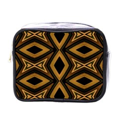 Tribal Diamonds Pattern Brown Colors Abstract Design Mini Travel Toiletry Bag (one Side) by dflcprints