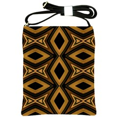 Tribal Diamonds Pattern Brown Colors Abstract Design Shoulder Sling Bag by dflcprints