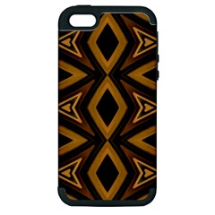 Tribal Diamonds Pattern Brown Colors Abstract Design Apple Iphone 5 Hardshell Case (pc+silicone) by dflcprints