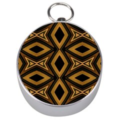 Tribal Diamonds Pattern Brown Colors Abstract Design Silver Compass by dflcprints