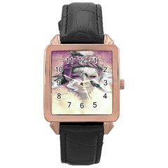 Tentacles Of Pain Rose Gold Leather Watch  by FunWithFibro