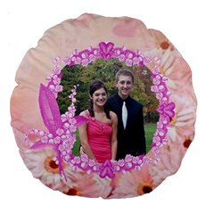 Pink Daisy 18  Premium Round Cushion By Kim Blair   Large 18  Premium Round Cushion    4yr4syj8u0tu   Www Artscow Com Back