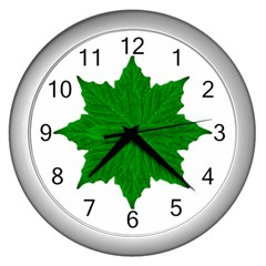 Decorative Ornament Isolated Plants Wall Clock (silver) by dflcprints