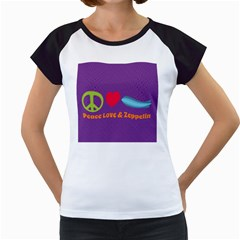 Peace Love & Zeppelin Women s Cap Sleeve T Shirt (white)