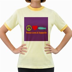 Peace Love & Zeppelin Women s Ringer T Shirt (colored) by SaraThePixelPixie