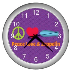 Peace Love & Zeppelin Wall Clock (silver) by SaraThePixelPixie