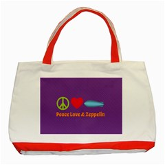 Peace Love & Zeppelin Classic Tote Bag (red) by SaraThePixelPixie