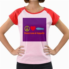 Peace Love & Zeppelin Women s Cap Sleeve T Shirt (colored) by SaraThePixelPixie