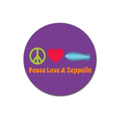 Peace Love & Zeppelin Magnet 3  (round) by SaraThePixelPixie