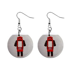 Big Foot In Phonebox  Mini Button Earrings
