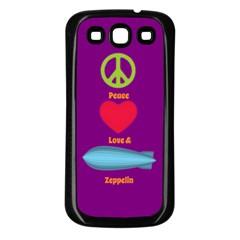 Peace Love & Zeppelin Samsung Galaxy S3 Back Case (black) by SaraThePixelPixie