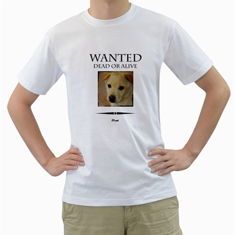 Wanted By Divad Brown   Men s T Shirt (white)    Wxym7q6g3ta2   Www Artscow Com Front