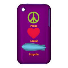 Peace Love & Zeppelin Apple Iphone 3g/3gs Hardshell Case (pc+silicone) by SaraThePixelPixie