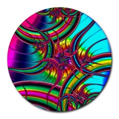 Abstract Neon Fractal Rainbows 8  Mouse Pad (round) by StuffOrSomething