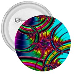 Abstract Neon Fractal Rainbows 3  Button by StuffOrSomething